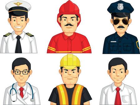 fighter pilot: Professione - Operatore edile, dottore, Fire Fighter, Pilota, Polizia, Office Worker