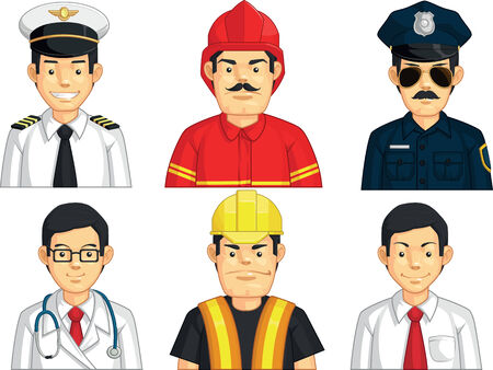 Profession - Construction Worker, Doctor, Fire Fighter, Pilot, Police, Office Worker Illustration
