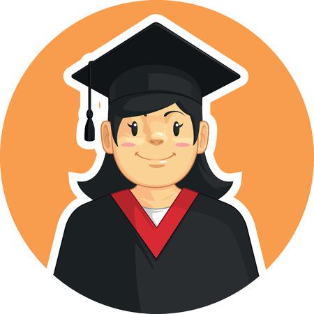 Écoles-collèges Graduation - Fille Vecteurs