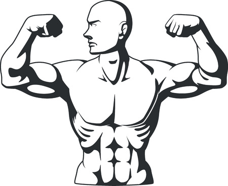 forearms: Silhouette of Bodybuilder Flexing Muscles