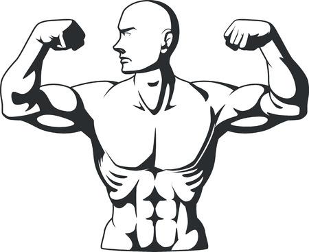 bodybuilder man: Silhouette of Bodybuilder Flexing Muscles