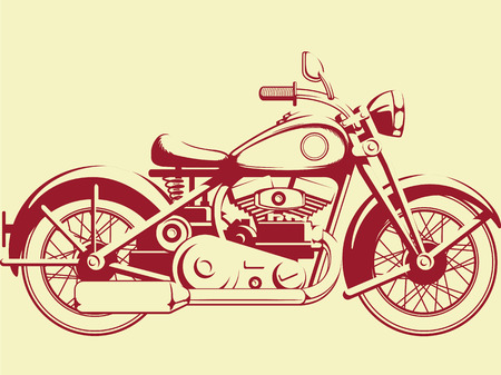 Silhouette of Old Motorcycle - Profile View