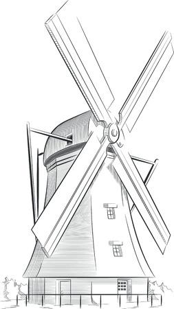 Schets van de Nederlandse Landmark - Windmill Stock Illustratie