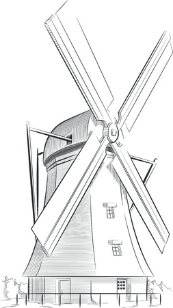 wind mills: Sketch of Dutch Landmark - Windmill Illustration