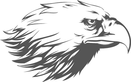 mascots: Eagle Head Vector - Side View Silhouette Illustration