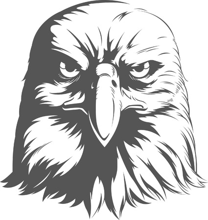 hawks: Eagle Silhouettes Vector - Front View Illustration