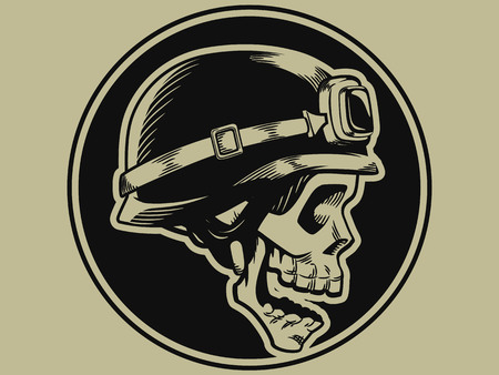 skull: Retro Badge Skull Biker Moto Illustration