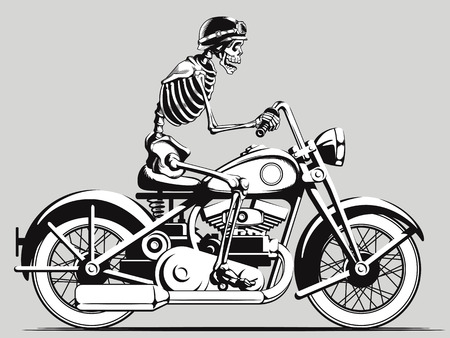Vintage Biker szkielet sylwetka wektor
