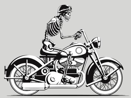 motorcyclist: Vintage Skeleton Biker Vector Silhouette