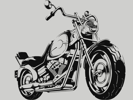 vector wheel: Vintage Motorcycle Vector Silhouette Illustration