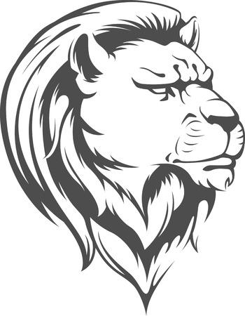 heraldic lion: Heraldic Lion Head Vector Silhouette