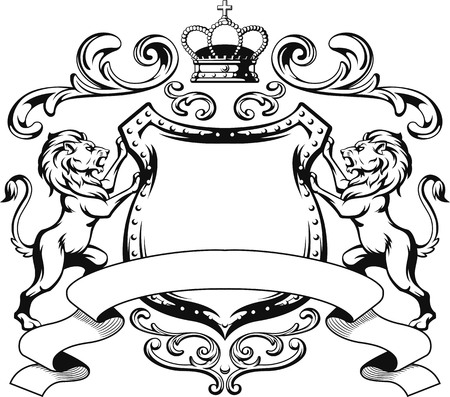 lion cartoon: Heraldic Lion Shield Crest Silhouette