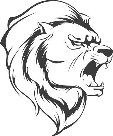 roar: Lion Roaring Vector Silhouette