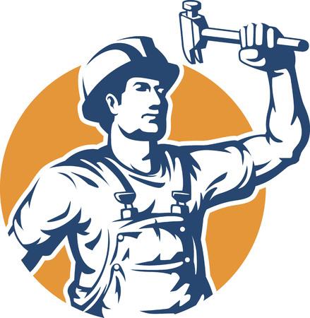 mecanica industrial: Trabajador de construcci�n de la silueta del vector Vectores