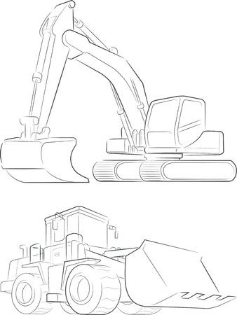 Art Bulldozer Pelle vecteur ligne