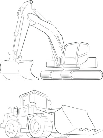 bulldozer: Bulldozer  Excavator Vector Line Art Illustration