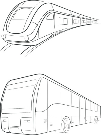 the railway: Bus  Train Vector Outline