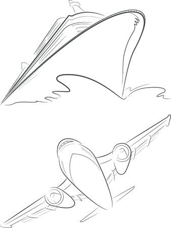 cruise ship: Cruise Ship  Airplane Vector Sketch