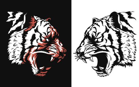 Silhouette tiger head roaring sideview isolated vector icon logo illustration on black and white style