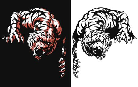 Silhouette tiger lurking ready attack isolated vector logo icon illustration on black and white style