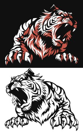 Silhouette tiger roaring front view isolated vector logo icon illustration on black and white style