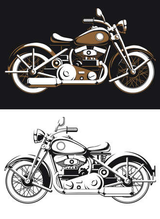 Silhouette vintage biker motorcycle sideview vector isolated old rider on black and white style Illustration