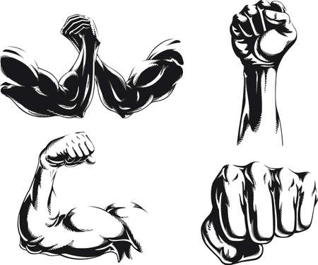Silhouette mma fighter bodybuilder arm isolated vector icon illustration on black and white style