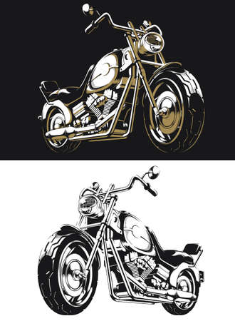 Silhouette retro motorcycle chopper isolated vector on black and white style