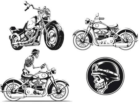 Silhouette rider biker motorcycle engraving isolated outline vector set 向量圖像