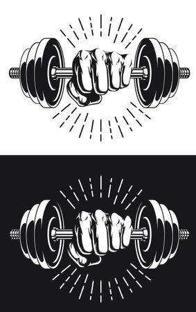 Silhouette Monochrome Fist Gripping Bodybuilding Dumbbells