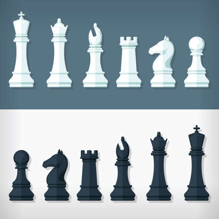 Flat Chess Pieces Design Set Style Simple Illustration Drawing