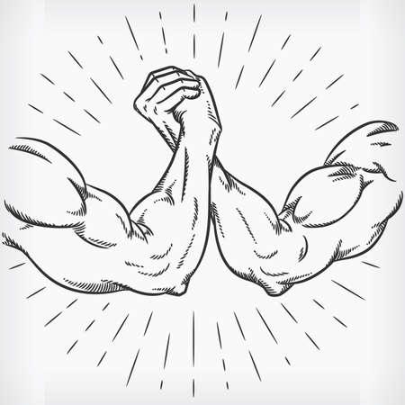 Sketch Strong Arm Wrestling Fighting Doodle Hand Drawing Illustration Vektorgrafik