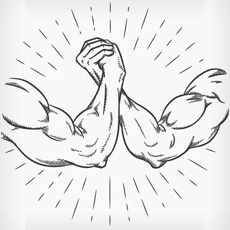 Sketch Strong Arm Wrestling Fighting Doodle Hand Drawing Illustration Vektorové ilustrace