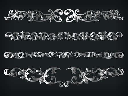 Divider Silver Frame Victorian Ornamental Line Floral Isolated Vector Vektorgrafik