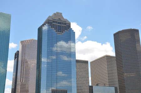 Houston Skyline under a bright blue sky