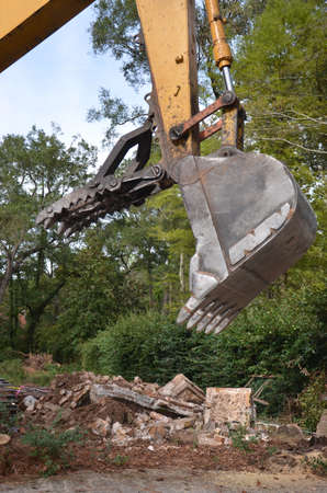Close up of a construction bulldozer claw