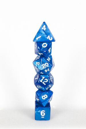 dice tower blue and white Stock Photo