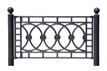 Forged decorative  fence. Isolated over white background. photo