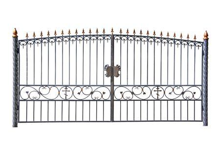 Forged decorative gates. Isolated over white background.
