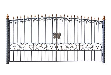 locked the door locked: Forged decorative gates. Isolated over white background.
