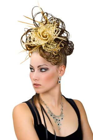 Coiffure of the woman for evening ball. Isolated over white background  Stock Photo