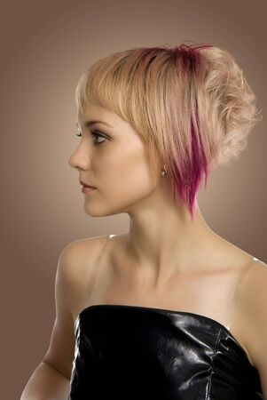 Coiffure of the girl for a disco, parties, ball.