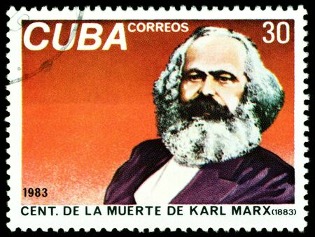 economist: Cuba - CIRCA 1983: A Stamp printed in the Cuba shows portrait  Stock Photo
