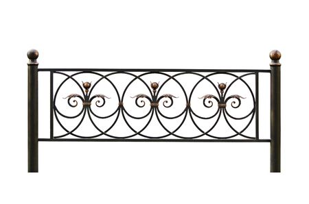 iron gate: Forged decorative  fence. Isolated over white background.
