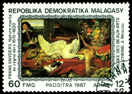 frans:  Malagasy - CIRCA 1987: a stamp printed by Malagasy  shows a picture of artist  Frans Snyders. Naturemorte to sygne.  Full series, circa 1987