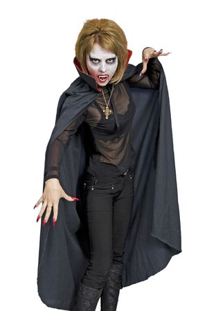 demoniacal: The woman - the vampire.  Halloween.  Isolated over white background