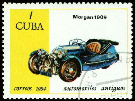 쿠바 -1984 년경 : 쿠바 쇼 오래 된 자동차 모건 -1989 년경에 인쇄 된 스탬프 1984 년경 스톡 콘텐츠