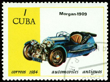 Cuba - CIRCA 1984: a stamp printed by Cuba shows old car Morgan - 1909, circa 1984