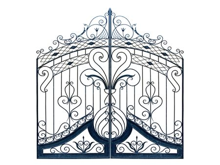 Old-time forged decorative gates. Isolated over white background. photo
