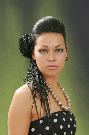 hairdress: Hairdress of the girl for a disco and evening